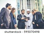 multiethnic group of... | Shutterstock . vector #595070498