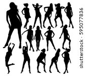 silhouettes of young beautiful... | Shutterstock .eps vector #595077836