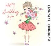 hand drawn beautiful cute girl... | Shutterstock .eps vector #595078055