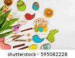 tulips and gingerbread cookies... | Shutterstock . vector #595082228
