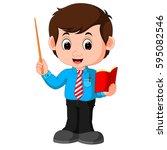 vector illustration of cartoon... | Shutterstock .eps vector #595082546