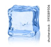 cubes of ice on a white... | Shutterstock . vector #595089506