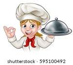 a female woman chef cartoon... | Shutterstock .eps vector #595100492