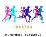 people running marathon logo... | Shutterstock .eps vector #595105526