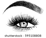 fashion woman eye false... | Shutterstock .eps vector #595108808
