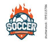 soccer championship logo ... | Shutterstock .eps vector #595115786