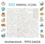 set of 850 minimalistic solid... | Shutterstock .eps vector #595116626