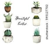 watercolor illustration  cactus ...   Shutterstock . vector #595127702