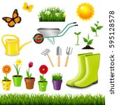 gardening tools with gradient... | Shutterstock .eps vector #595128578