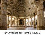 interior hall of famous jain... | Shutterstock . vector #595143212
