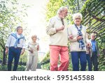 group of senior people with... | Shutterstock . vector #595145588