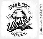 vintage american wolf bikers... | Shutterstock .eps vector #595145792