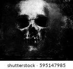 scary grunge skull isolated on... | Shutterstock . vector #595147985