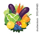 colorful vegetables  fruits and ... | Shutterstock .eps vector #595149485