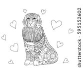 zendoodle stylized labrador dog ... | Shutterstock .eps vector #595152602