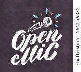 open mic. chalkboard sign. | Shutterstock .eps vector #595156382