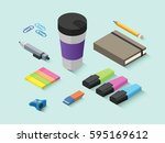 set of vector isometric office... | Shutterstock .eps vector #595169612