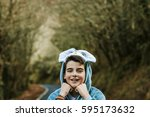 child disguised to outdoor | Shutterstock . vector #595173632