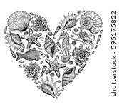 sea heart. original hand drawn...   Shutterstock .eps vector #595175822