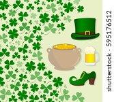 pot of gold  beer mug  hat and...   Shutterstock .eps vector #595176512