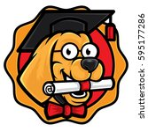 smart buddy dog mascot  a smart ... | Shutterstock .eps vector #595177286
