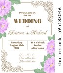 wedding invitation with flowers ... | Shutterstock .eps vector #595183046