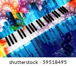Musical instrument a piano on a background of city streets and patterns. - stock photo