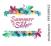 design banner with  summer sale ... | Shutterstock .eps vector #595190912