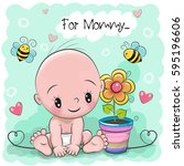 greeting card baby with flower... | Shutterstock .eps vector #595196606