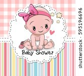 baby shower greeting card with... | Shutterstock .eps vector #595196696