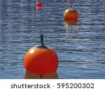 orange colored holding buoy... | Shutterstock . vector #595200302