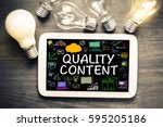 quality content concept on... | Shutterstock . vector #595205186