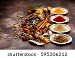 spices and herbs on old kitchen ... | Shutterstock . vector #595206212