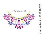 jewelery stones accessories... | Shutterstock .eps vector #595210676