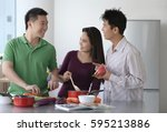 friends cooking in the kitchen | Shutterstock . vector #595213886