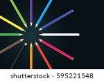 colored pencils arrange in...   Shutterstock .eps vector #595221548