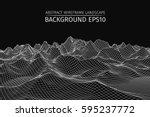 wireframe landscape background. ... | Shutterstock .eps vector #595237772