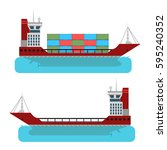 barge. containers for the...   Shutterstock .eps vector #595240352