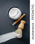 image of shaving tools   brush  ... | Shutterstock . vector #595246742