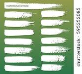 set of white grunge brush... | Shutterstock .eps vector #595252085