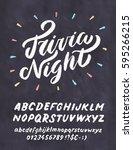 trivia night. chalkboard sign. | Shutterstock .eps vector #595266215