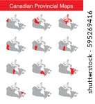 vector set of canadian provinces | Shutterstock .eps vector #595269416