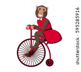 circus monkey on bicycle | Shutterstock .eps vector #595285916