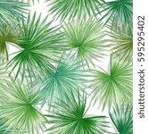 seamless watercolor green... | Shutterstock . vector #595295402