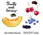 fruits and berries watercolor... | Shutterstock . vector #595297166