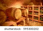 beautiful photo of barrels with ... | Shutterstock . vector #595300202