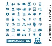 business meeting icons | Shutterstock .eps vector #595302476