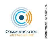 communication technology logo... | Shutterstock .eps vector #595304876