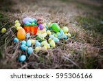 easter eggs and cute bunny in... | Shutterstock . vector #595306166