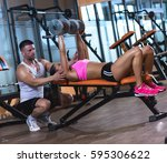 personal fitness instructor... | Shutterstock . vector #595306622